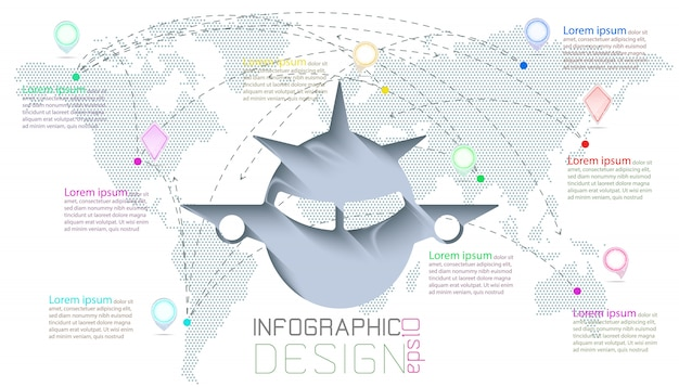 Infográfico na comunicação de mapas do mundo.