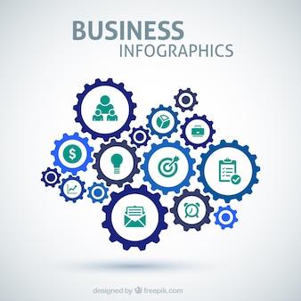 Infográfico negócios com engrenagens