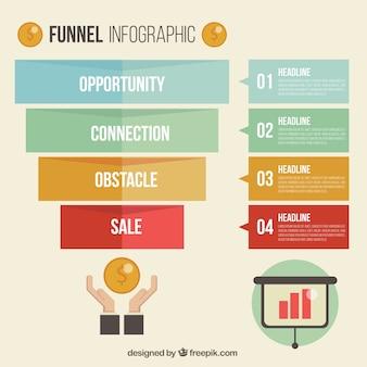 Infográfico negócios com estilo geométrico