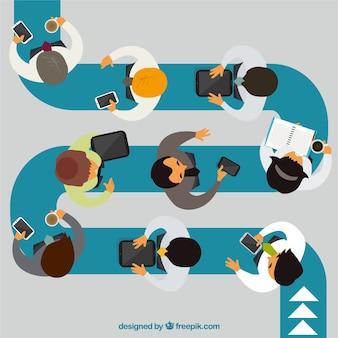 Infográfico negócios em papel rasgado