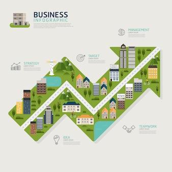 Infográfico negócios seta gráfico forma modelo de design.