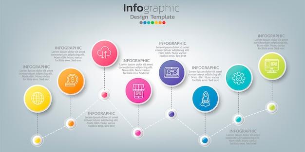 Infográfico no conceito de negócio, com 8 opções, etapas ou processos.