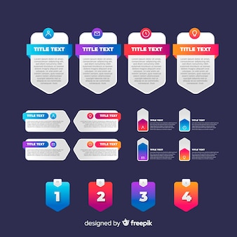 Infográfico pacote de elementos em estilo gradiente