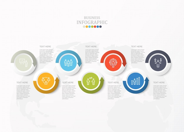 Infográfico padrão para o conceito de negócio e ícones.