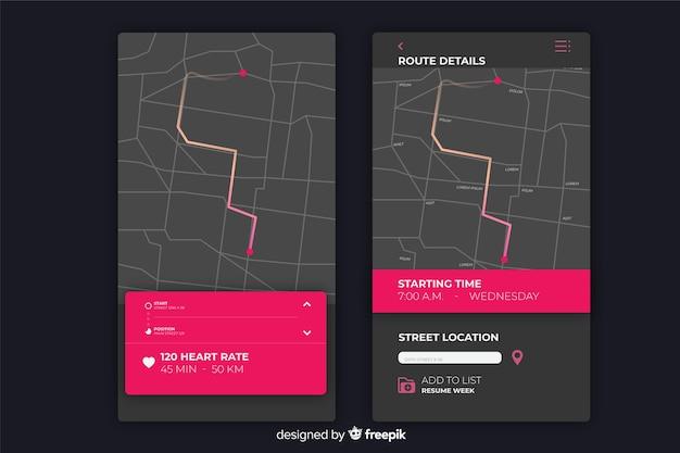 Infográfico para aplicativo móvel em execução