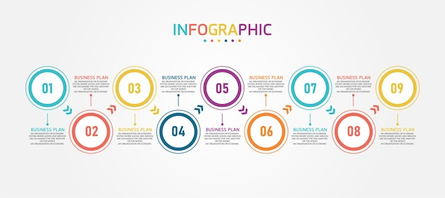 Infográfico para apresentações, processos, gráficos de dados.