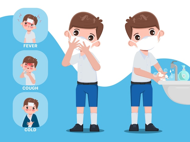 Infográfico para estudantes tailandeses, sintoma e proteção contra covid19 personagem da escola siam banguecoque