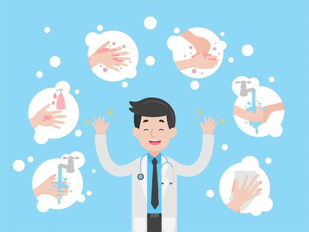 Infográfico passo a passo de lavagem das mãos