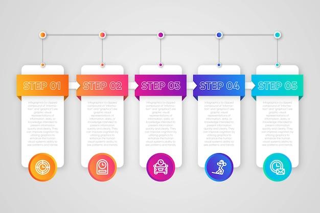Infográfico passo coleção conceito