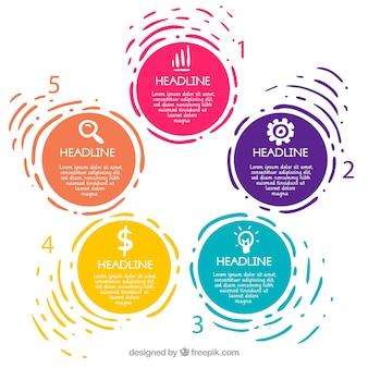 Infográfico passos coleção com cores diferentes