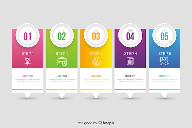 Infográfico plana colorida passos coleção