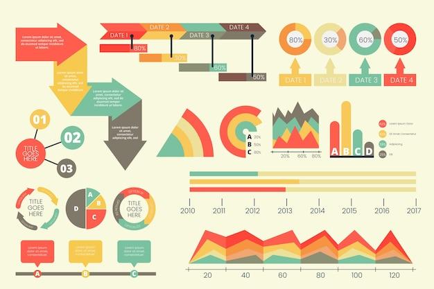 Infográfico plano com cores retrô