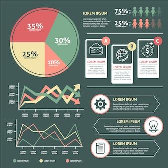 Infográfico plano com design de cores retrô