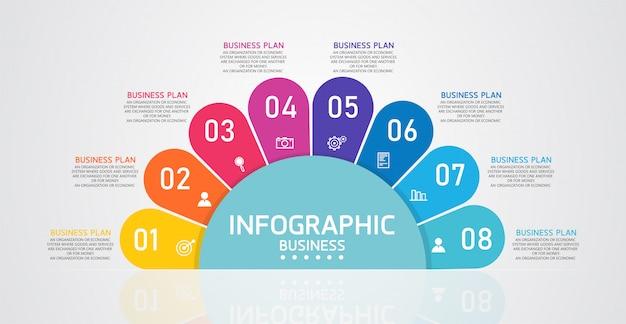 Infográfico pode ser usado para o processo de apresentação, estrutura de tópicos, banner, gráfico, camada