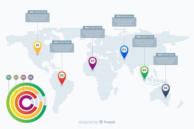 Infográfico profissional com mapa-múndi