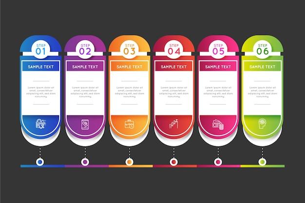 Infográfico profissional de gradiente de linha do tempo