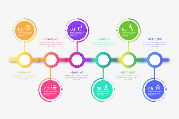 Infográfico profissional de linha do tempo plana