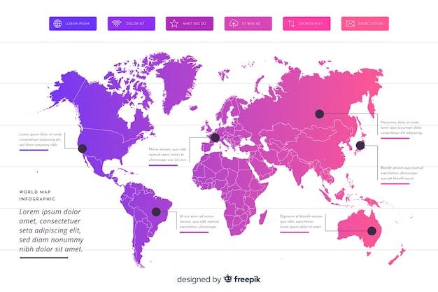 Infográfico profissional de mapa do mundo