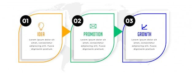 Infográfico profissional de negócios modernos com três etapas