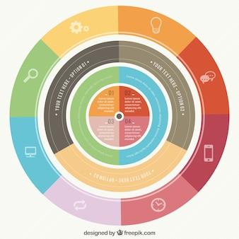 Infográfico redonda em estilo colorido