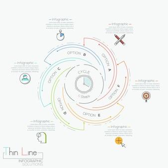 Infográfico redondo com 6 elementos multicoloridos em espiral