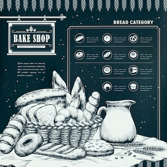 Infográfico requintado desenhado à mão de pastelaria com pão delicioso