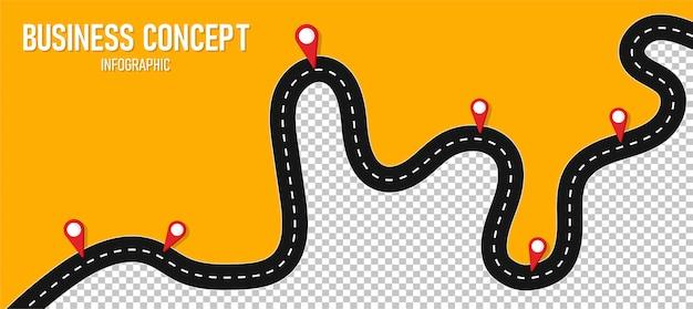 Infográfico road illustration pode ser usado para processos, apresentações.