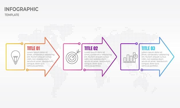 Infográfico seta fina linha 3 opções.