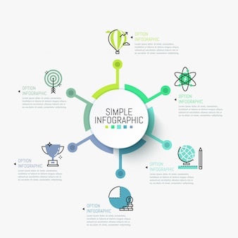 Infográfico simples modelo. elemento circular no centro conectado com pictogramas e caixas de texto