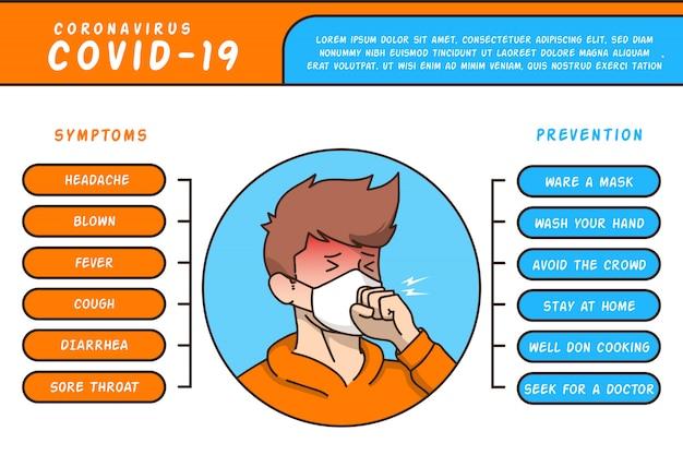Infográfico sintomas e prevenção corona virus catoon style