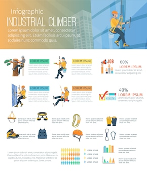 Infográfico sobre alpinismo de profissão de alpinista industrial e equipamentos para trabalho de alta altitude