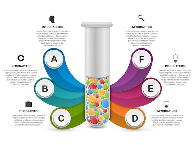 Infográfico sobre ciência e medicina na forma de tubos de ensaio. elementos de design.