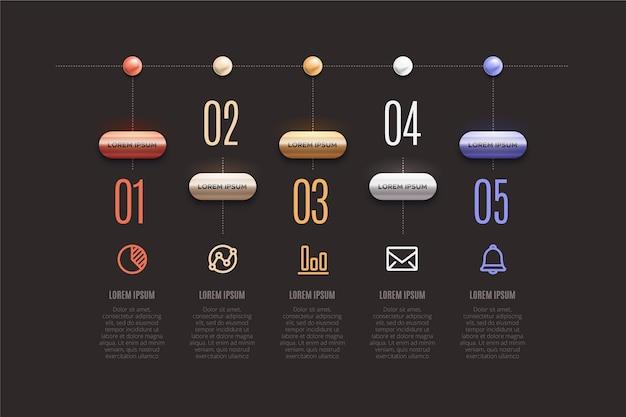 Infográfico timeline 3d design brilhante