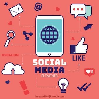 Infográfico vermelho com elementos de redes sociais