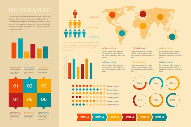 Infográfico vintage design plano