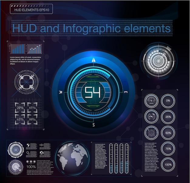 Infográfico virtual azul futurista do hud futuro abstrato.