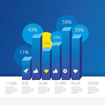 Infográficos 3d de gráfico de coluna azul