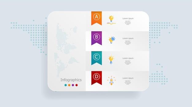 Infográficos abstratos 4 etapas