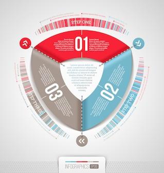Infográficos abstratos com elementos numerados - ilustração
