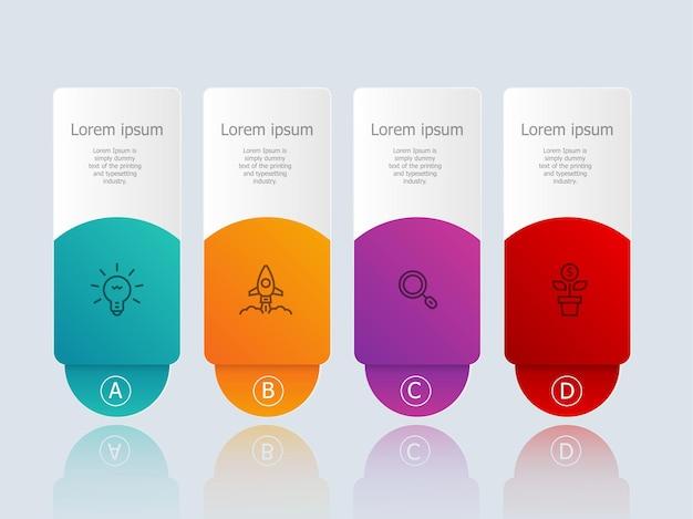 Infográficos abstratos de banner horizontal com ícones de negócios