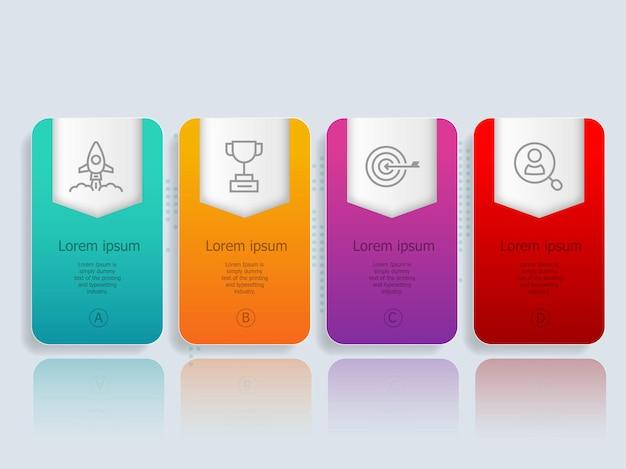 Infográficos abstratos de banner horizontal com ilustração de ícones de negócios