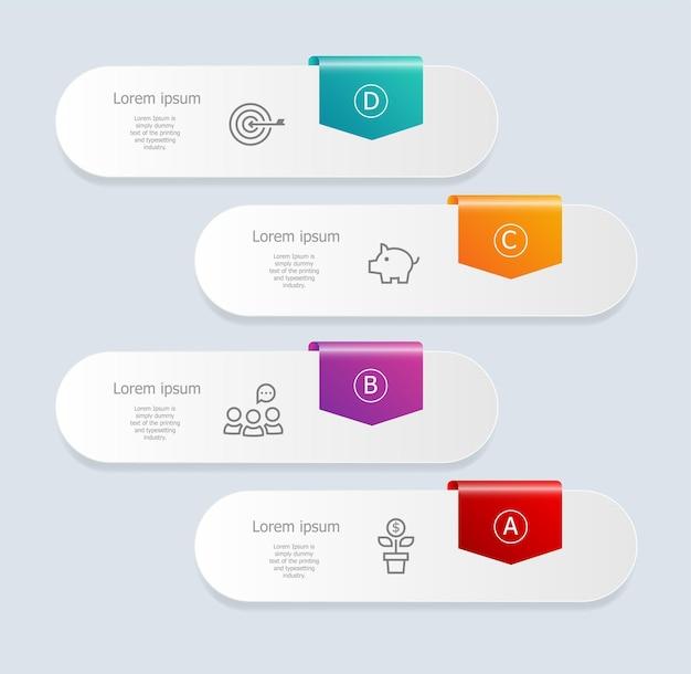 Infográficos abstratos de banner vertical com ilustração de ícones de negócios