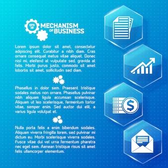 Infográficos abstratos de negócios com hexágonos de luz de vidro de texto e ícones brancos em ilustração pontilhada azul