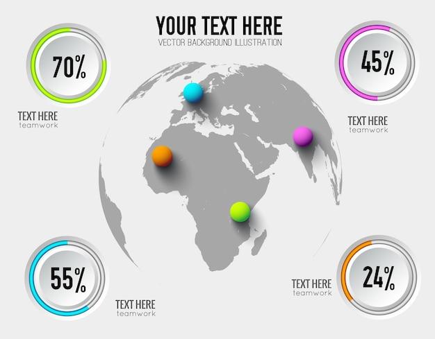 Infográficos abstratos de negócios com taxas percentuais de botões redondos e bolas coloridas no mapa mundial