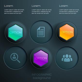 Infográficos abstratos de opções da web com ícones, hexágonos brilhantes coloridos e botões redondos escuros