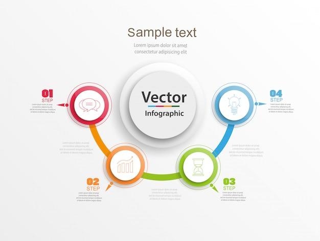 Infográficos abstratos número modelo de opções com círculos coloridos e 5 etapas