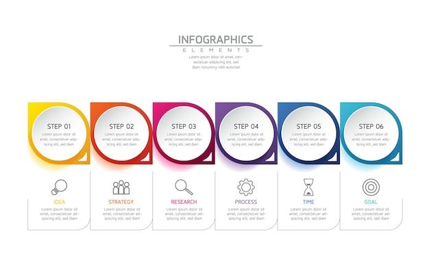 Infográficos. apresentação e gráfico. etapas ou processos. opções número design de modelo de fluxo de trabalho. 6 etapas.