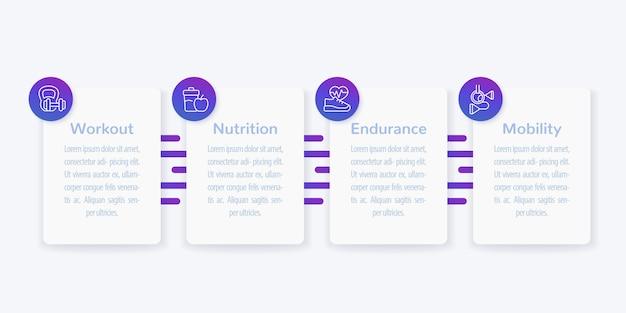 Infográficos, banner com ícones de linha de fitness,