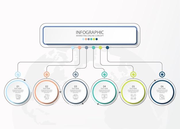 Infográficos básicos para o conceito de negócio atual. elementos abstratos, 6 opções, partes ou processos. modelo de negócios de vetor para apresentação e conceito criativo.