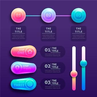 Infográficos brilhantes 3d com gráfico de linha do tempo
